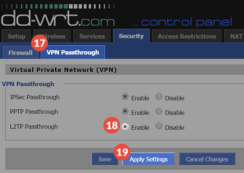 DD-WRT Router L2TP VPN Setup: Step 3