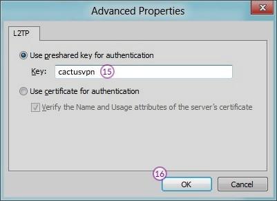 How to set up L2TP VPN on Windows 8: Step 9