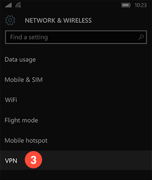 How to set up PPTP VPN on Windows 10 mobile: Step 3