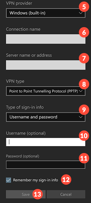 How to set up PPTP VPN on Windows 10 mobile: Step 5