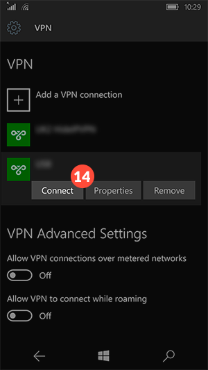How to set up PPTP VPN on Windows 10 mobile: Step 6