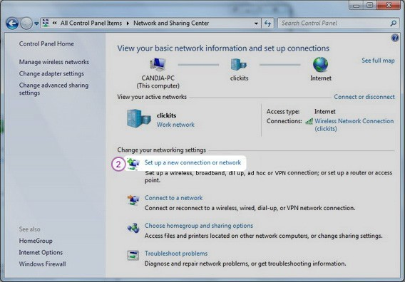 How to set up PPTP VPN on Windows 7: Step 2