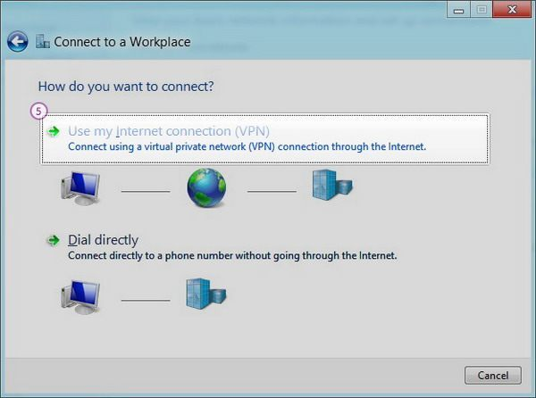 How to set up PPTP VPN on Windows 8: Step 4