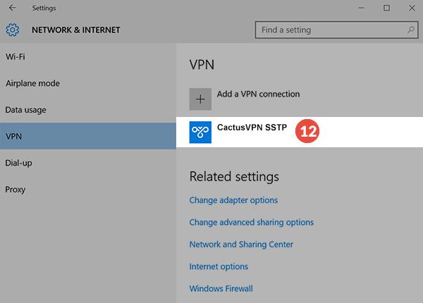 How to set up SSTP VPN on Windows 10: Step 4