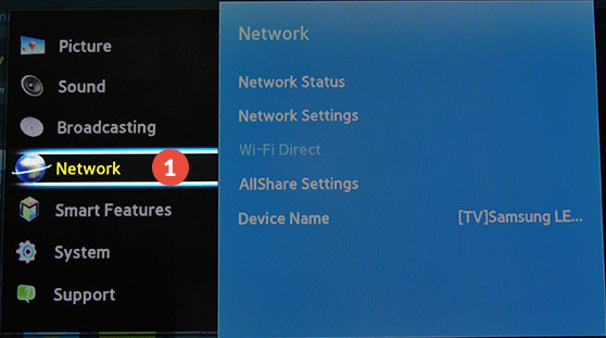 Samsung-Smart-TV Smart DNS Setup: Step 1