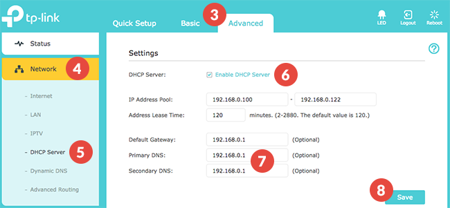 How to set up Smart DNS on TP-Link router (interface 1): Step 1
