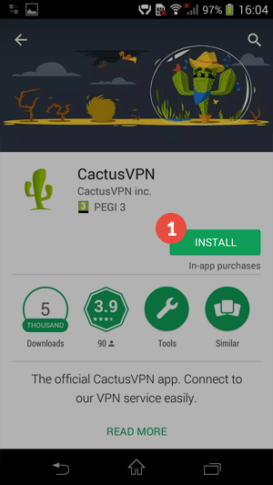 How to set up CactusVPN App for Android: Step 1