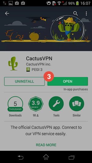How to set up CactusVPN App for Android: Step 3