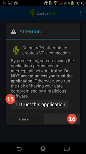 How to set up CactusVPN App for Android: Step 8
