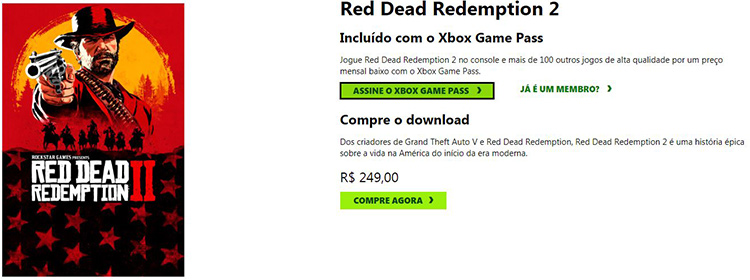 Red Dead Redemption 2 Price with Brazilian IP